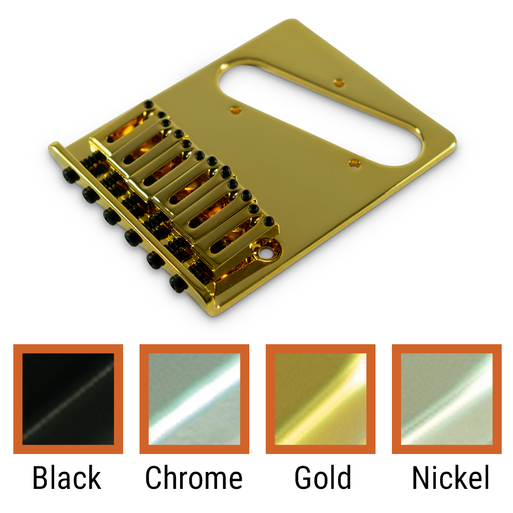 Kluson Contemporary Replacement Bridge For Left Hand Fender Telecaster With Brass Or Steel Saddles