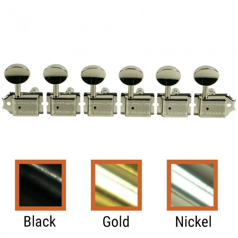 Oval Metal Button Gold Kluson Locking Tuners For Fender USA Standards 6 In Line