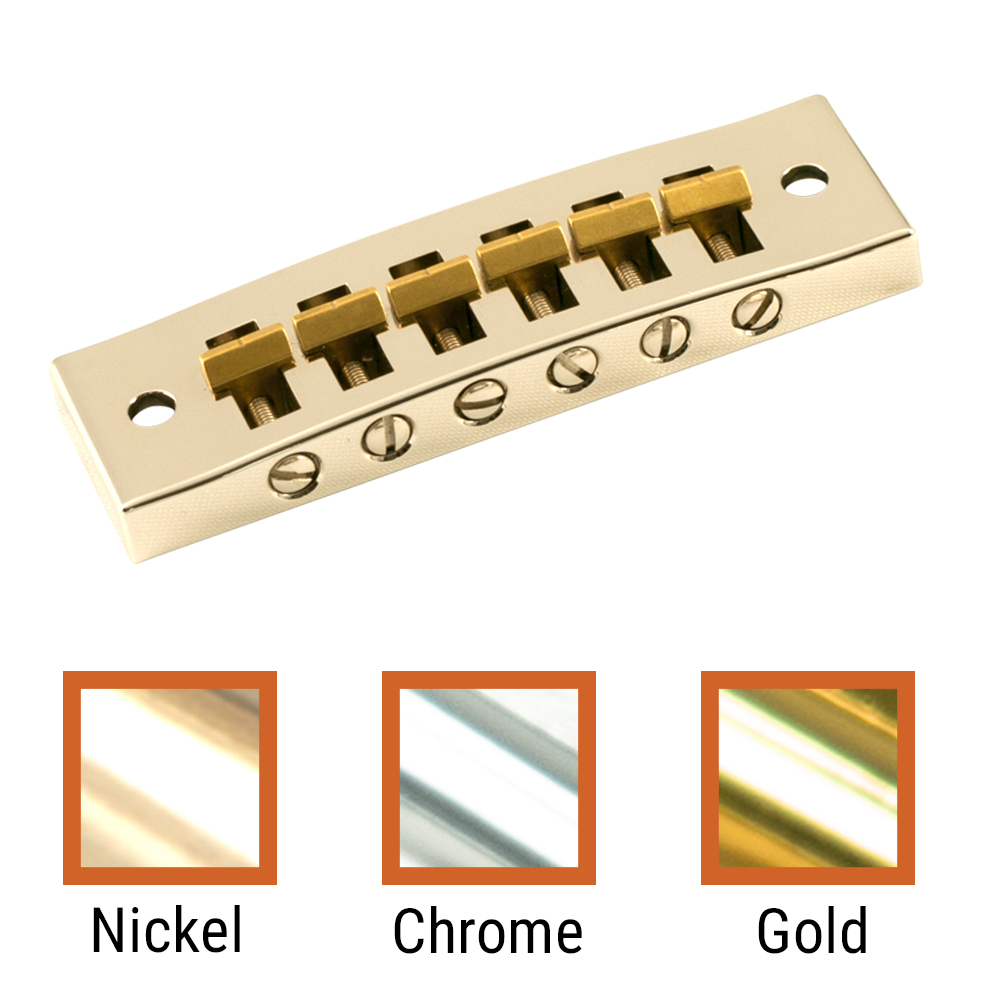 Kluson Replacement Brass Or Steel Harmonica Tune-O-Matic Bridge With Brass Saddles