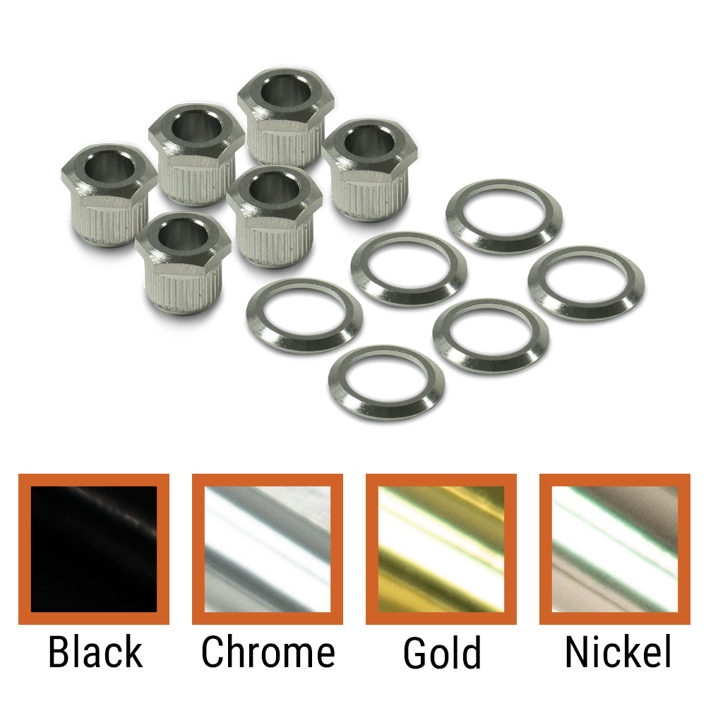 Kluson Modern Bolt Bushing To Vintage Push-In Cosmetic Adapter Kit For Vintage Stamped Steel Tuning Machines