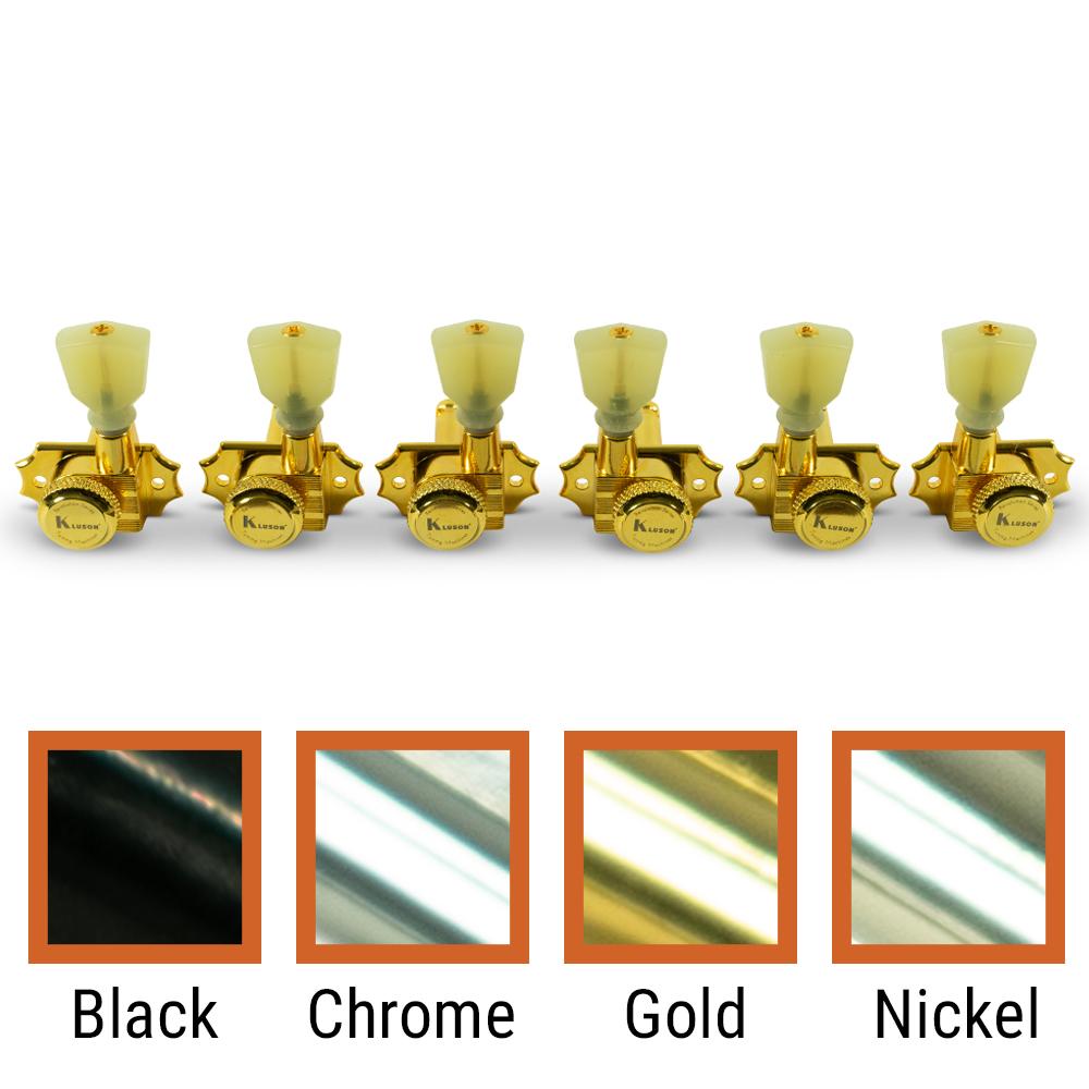 Kluson 3 Per Side Locking Revolution Series G-Mount Non-Collared Tuning Machines