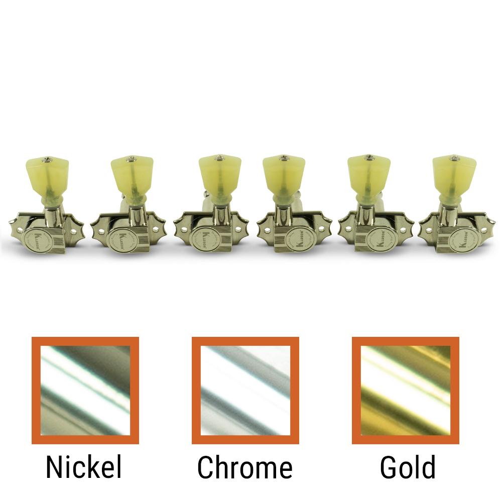 Kluson 3 Per Side Revolution Series G-Mount Non-Collared Tuning Machines