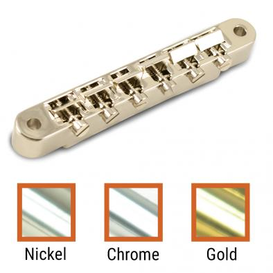 Kluson USA® Replacement Non-Wired ABR-1 Tune-O-Matic Bridge With Brass Or Nylon Saddles